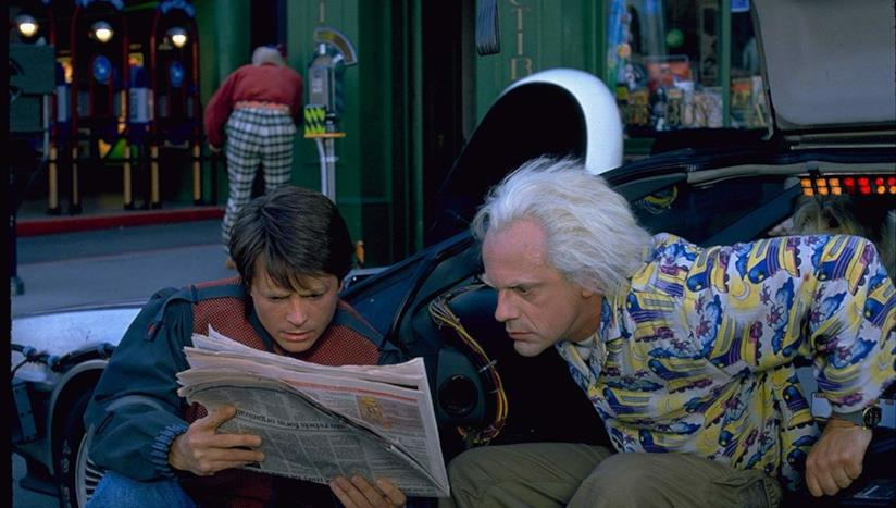 Christopher Lloyd e Michael J. Fox in una scena del film