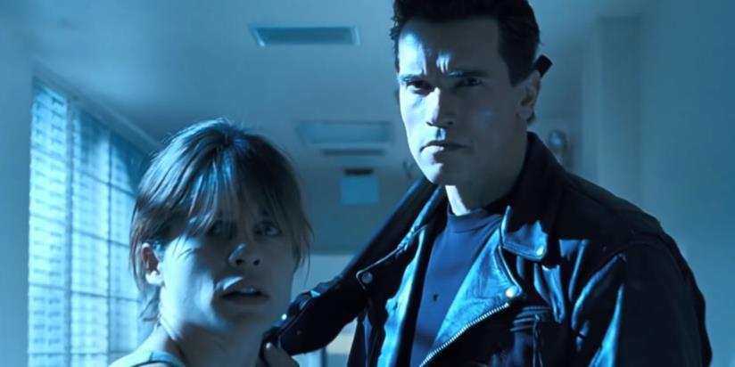 Arnold Schwarzenegger e Linda Hamilton in una scena de Il giorno del giudizio