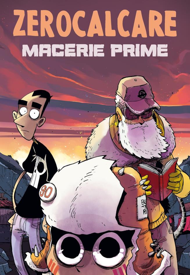 La copertina di Macerie Prime con i tre protagonisti a fumetto