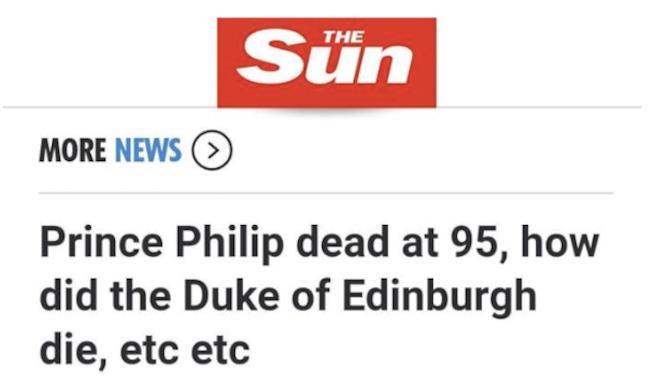 La notizia data per errore dal tabloid The Sun