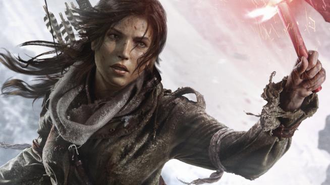 Un primo piano di Lara Croft in Rise of the Tomb Raider
