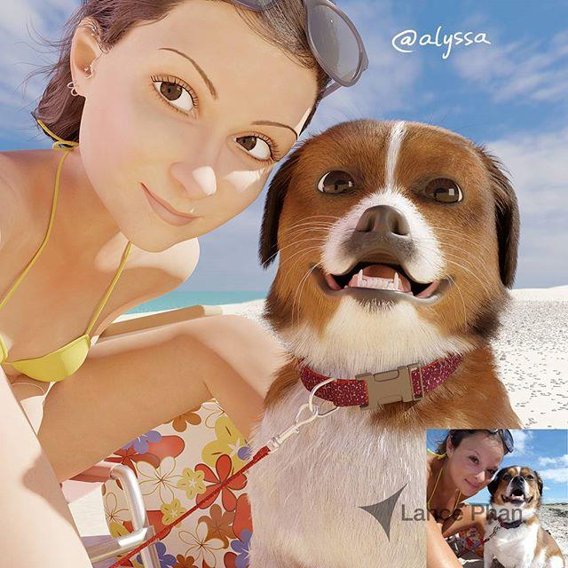 Alyssa in costume con il cane sulla spiaggia