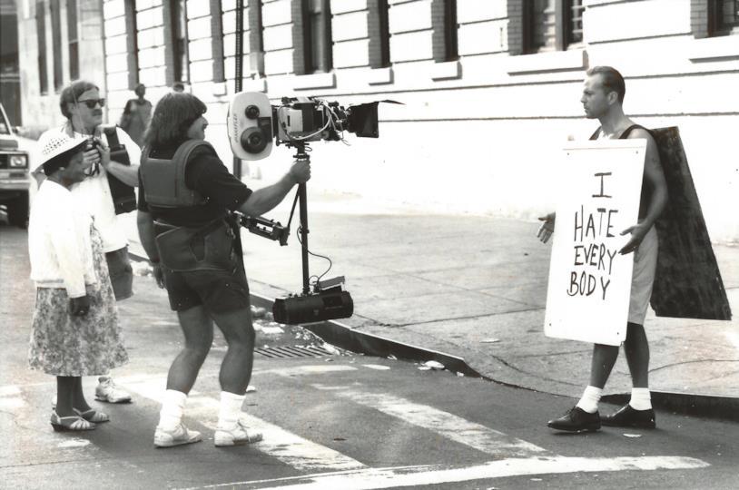 Bruce Willis sul set di Die Hard - Duri a morire