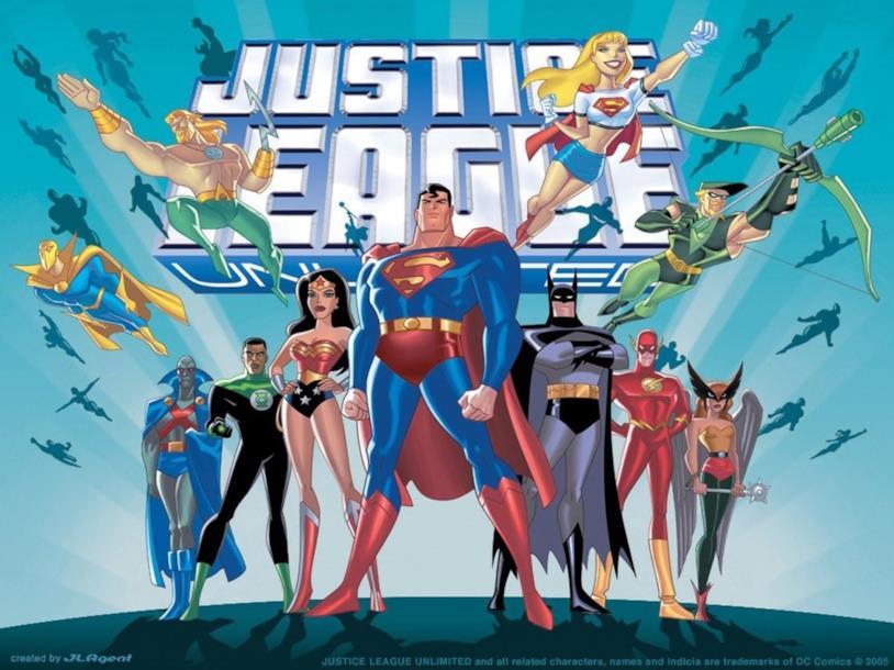 I maggiori supereroi DC Comics raggruppati sotto il logo del titolo della seerie Justice League Unlimited
