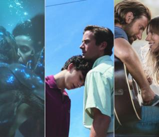 Collage tra La forma dell'acqua, Chiamami col tuo nome e A Star is Born