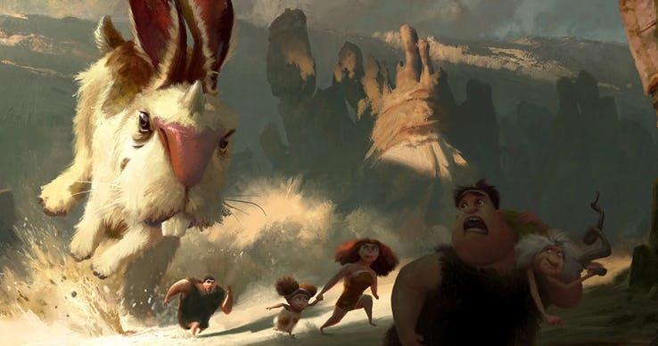 Concepet art: conigli giganti per il film I Croods