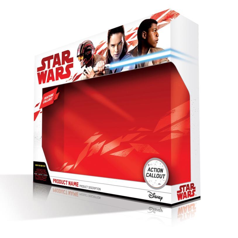 Il packaging della nuova linea di giochi e prodotti ispirati a Star Wars: The Last Jedi
