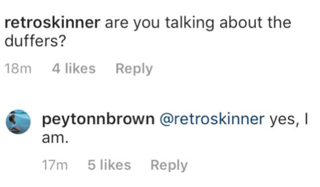 Peyton Brown accusa i fratelli Duffer su Instagram