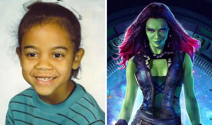 Zoe Saldana (Gamora) da bambina e nei film Marvel