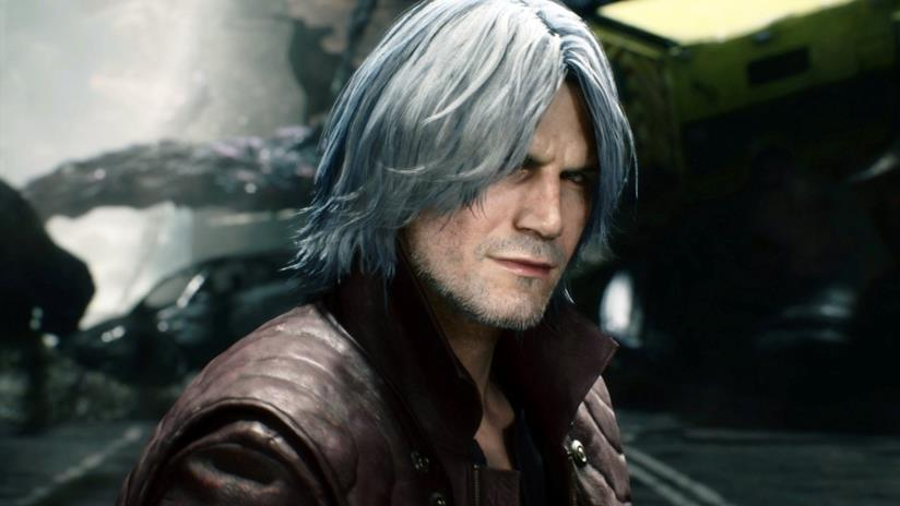 Un primo piano di Dante da Devil May Cry 5