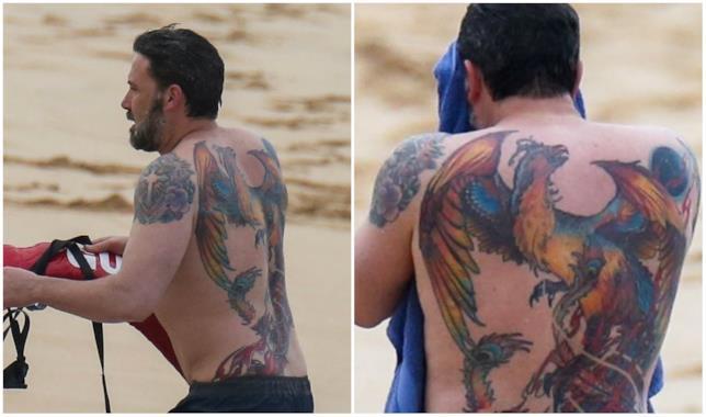 Collage di immagini del tatuaggio di Ben Affleck