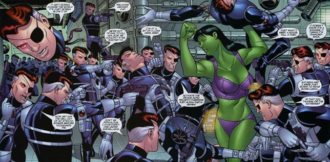 Una vignetta con protagonisti She-Hulk e i cloni di Fury