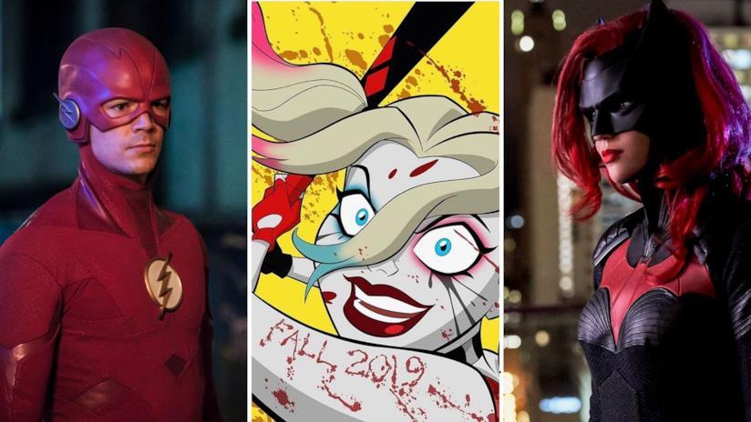 Nell'immagine The Flash a sinistra, Harley Quinn in versione animata al centro e a destra Batwoman