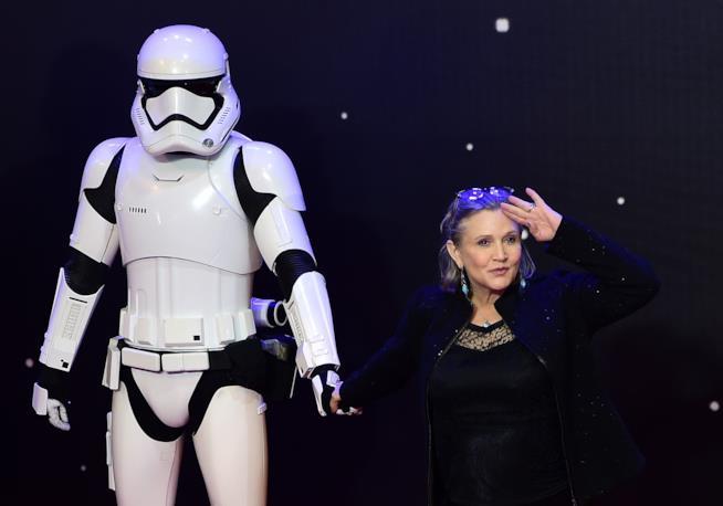 Carrie Fisher sul red carpet di Il Risveglio della Forza