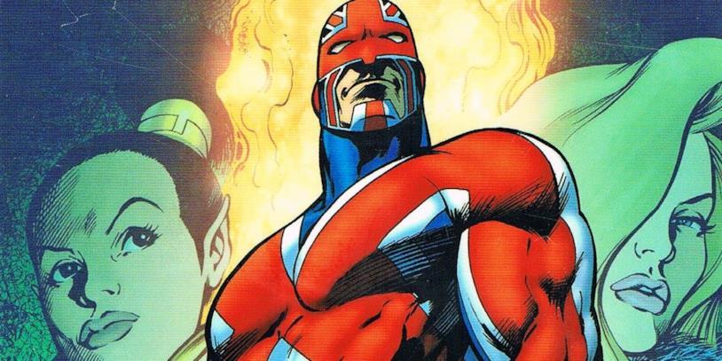 Una tavola dei fumetti di Captain Britain