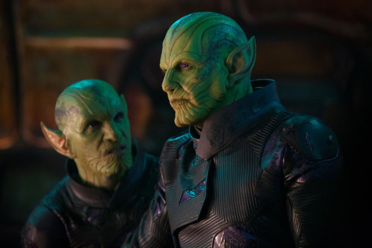 Talos e uno dei suoi sottoposti in una scena di Captain Marvel