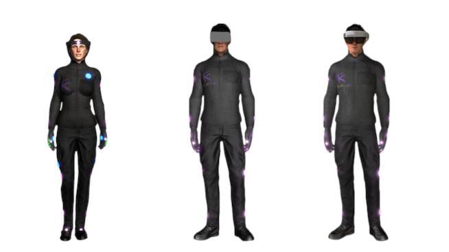 Tre modelli di tuta per realtà virtuale HoloSuit