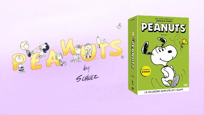 Il logo Peanuts e il cofanetto con la collezione DVD italiana