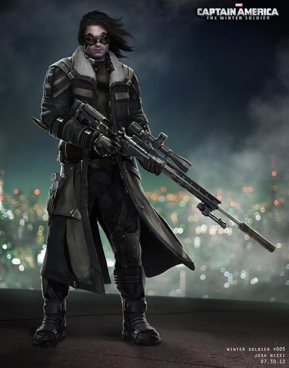 Concept art di Bucky Barnes - Soldato d'Inverno disegnato da Josh Nizzi