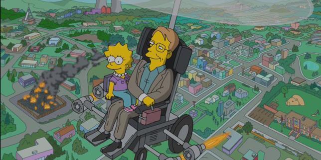 Stephen Hawking e Lisa volano su Springfield