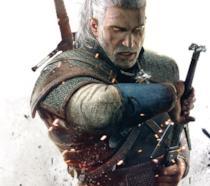Un primo piano dello strigo Geralt di Rivia