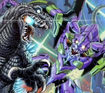 Godzilla vs Evangelion in una fanart
