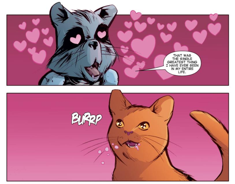 Rocket innamorato del gatto di Carol Danvers