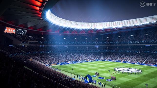 Uno degli stadi di FIFA 19 adornati per la Champions League