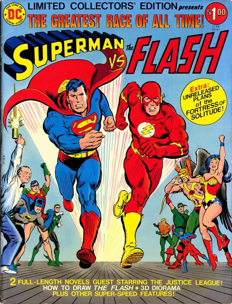 Copertina della classica corsa tra Superman e Flash, nel 1979