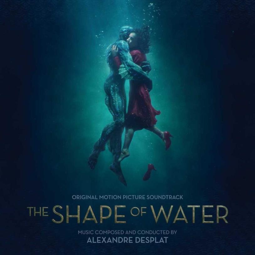Elisa e la creatura si abbracciano sulla cover della OST de La forma dell'acqua