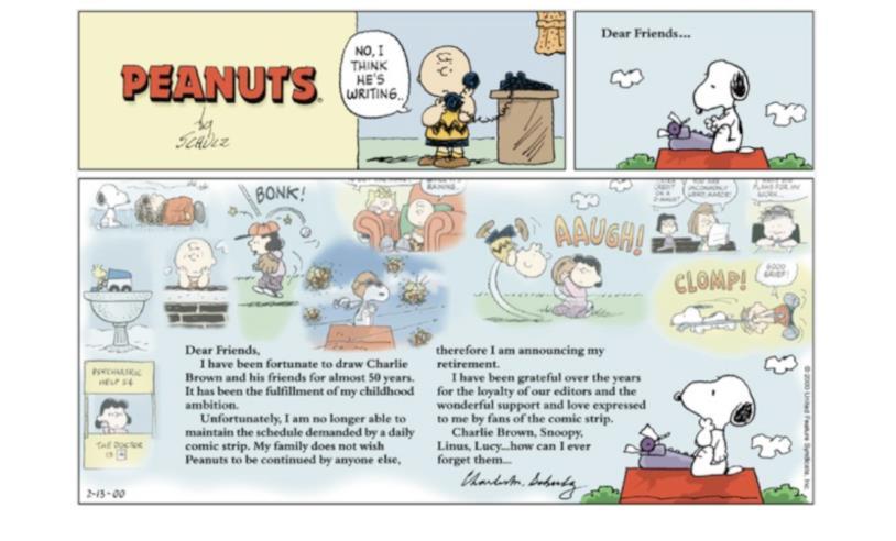 L'ultima striscia dei Peanuts
