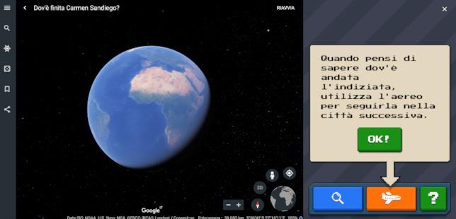 Screen da Google Earth con le info sul gioco su Carmen Sandiego