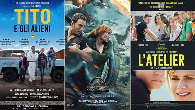 I poster dei film Tito e gli alieni, Jurassic World: il Regno distrutto, L'Atelier