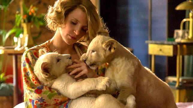 Jessica Chastain gioca con alcuni cuccioli di leone