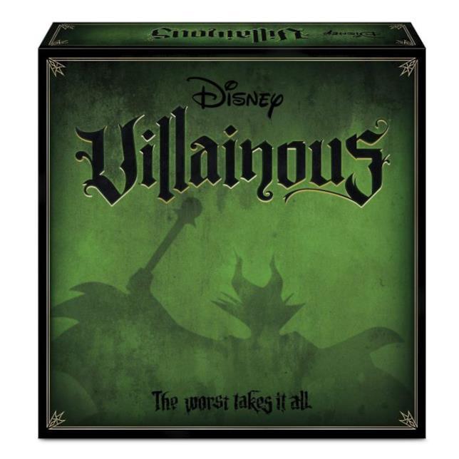 Primo piano del box del gioco da tavolo Disney Villainous