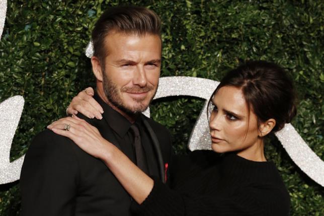 Primo piano di Victoria Beckham e David Beckham