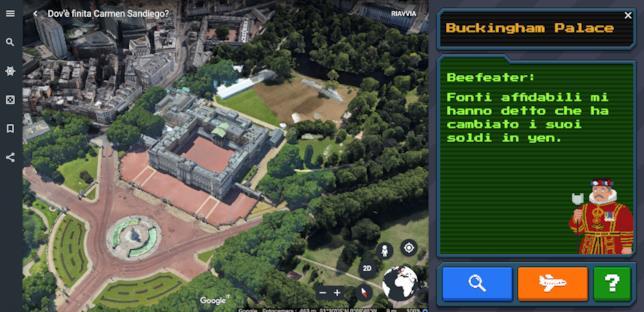 Screen da Google Earth del gioco su Carmen Sandiego