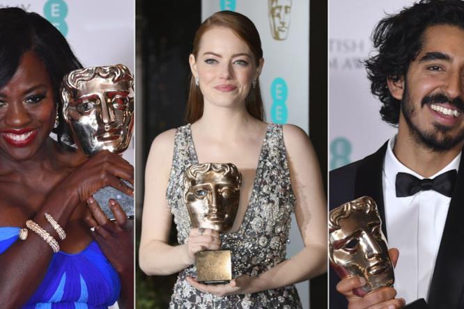 Viola Davis, Emma Stone e Dev Patel coi loro BAFTA 2017