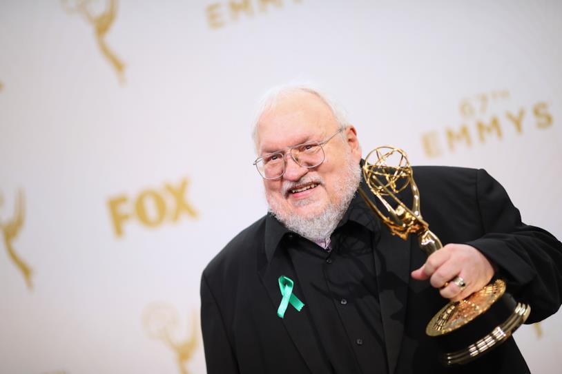 Lo scrittore R.R. Martin al photocall degli Emmy 2016