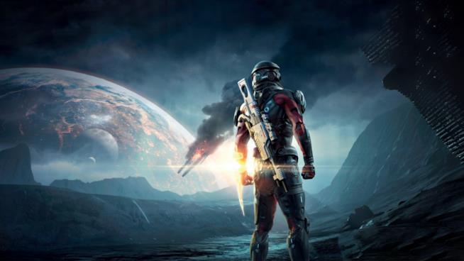 Il protagonista di Mass Effect Andromeda all'interno di uno scenario del gioco