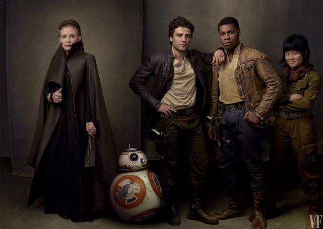 Star Wars: Gli Ultimi Jedi, Leia, BB-8, Poe Dameron, Finn e Rose Tico