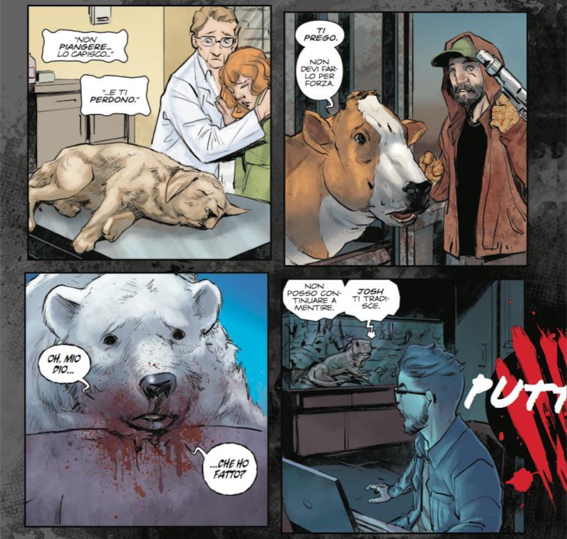 Tavola di Animosity #1 con gli animali che si risvegliano