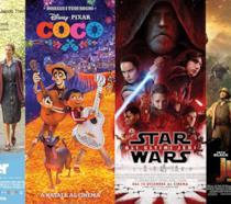 I poster dei film Wonder, Coco, Star Wars: Gli Ultimi Jedi e Jumanji - Benvenuti nella Giungla