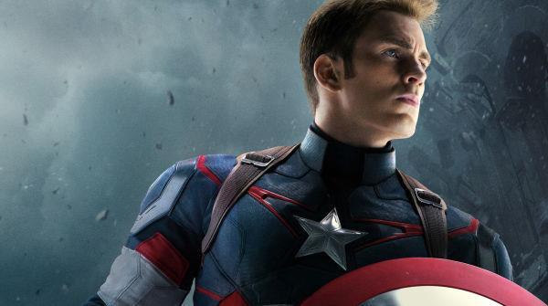 Primo piano di Chris Evans nei panni di Captain America