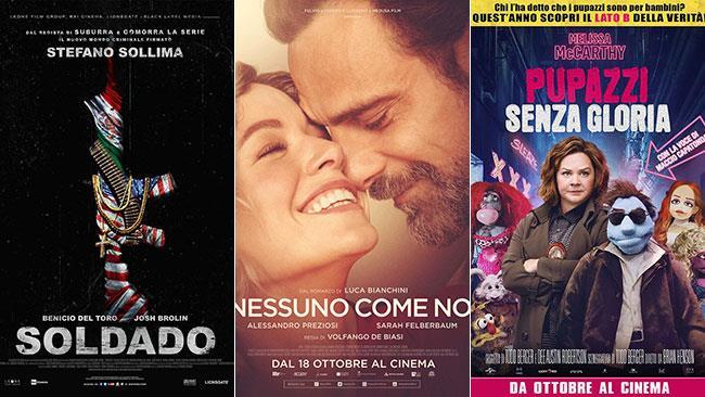 I poster dei film Soldado, Nessuno come noi e Pupazzi senza gloria