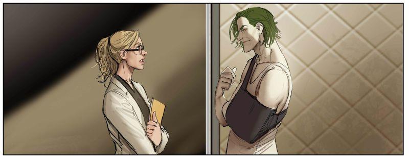 Harleen Quinzel e Joker a colloquio ad Arkham.
