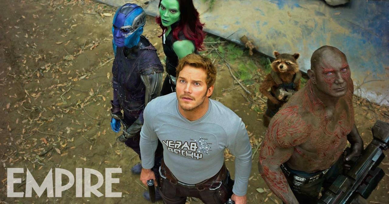 Star-Lord, Drax, Rocket, Gamora, Baby Root e Nebula insieme nella foto di Empire