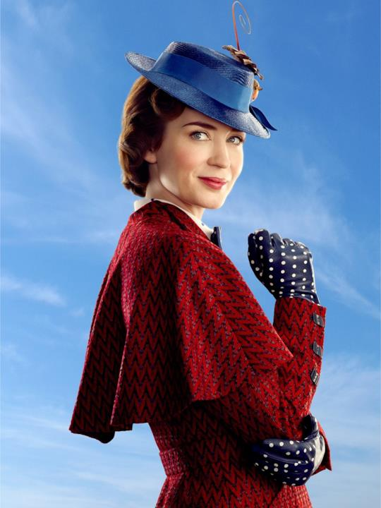 Emily Blunt sorride nei panni di Mary Poppins