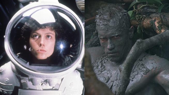 Sigourney Weaver e Arnold Schwarzenegger rispettivamente in Alien e Predator
