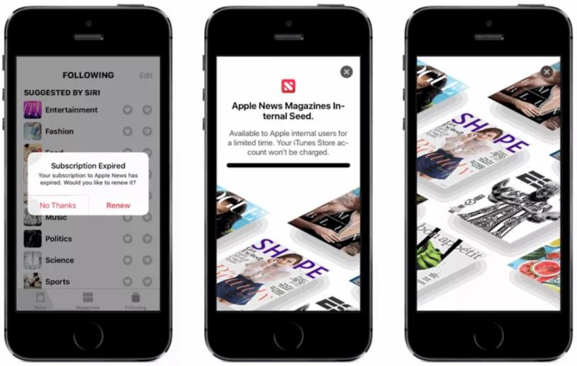 La splash page di Apple News Magazines in una beta di iOS 12.2